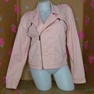 Sanctuary Clothing Peach Denim Moto Jacket Medium